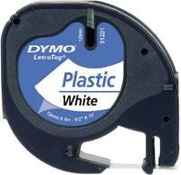 DYMO feliratozószalag LetraTag, 12mm, gyöngy-fehér/fekete, polieszter, S0721660 (S0721660) DYMO