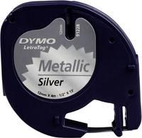 DYMO feliratozószalag LetraTag, 12mm, ezüst/fekete, fém, S0721750 (S0721750) DYMO