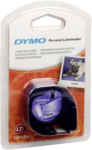 DYMO feliratozószalag LetraTag, 12mm, átlátszó/fekete, polieszter, S0721550