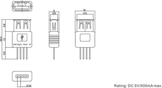 Nyákra ültethető USB aljzat, A típusú
