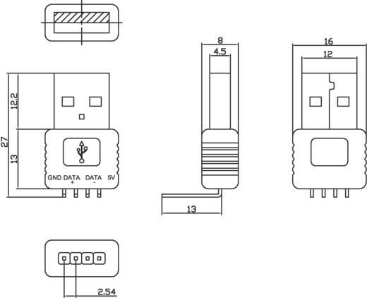 Nyákba ültethető USB dugó, 90° , A típus