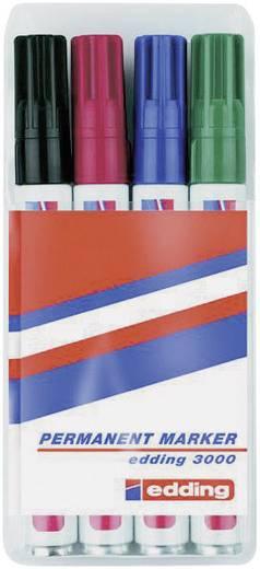 Permanent marker Edding 3000 Fekete, Piros, Kék, Zöld Gömbölyű 1.5 - 3 mm 4 db