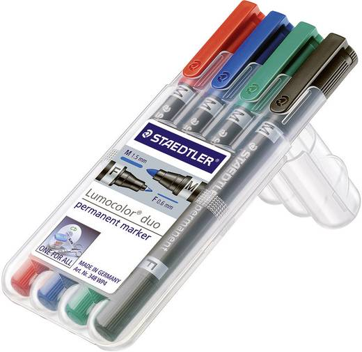 Textil jelölő Lumicolor, Duo Staedtler 348 WP4 Piros, Kék, Zöld, Fekete Gömbölyű 0.6 - 1.5 mm 1 db