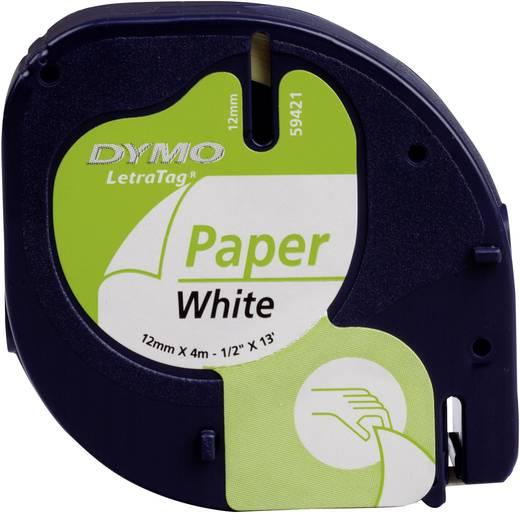 DYMO feliratozószalag LetraTag, 12mm, fehér/fekete, papír, S0721520