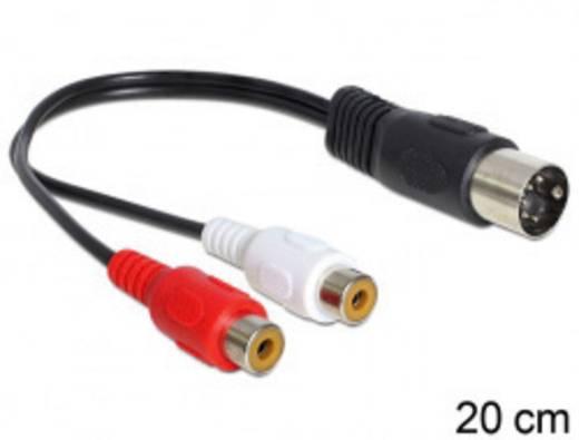 RCA / DIN csatlakozó audio csatlakozókábel, 1 x DIN dugó, 5 pólusú – 2 x RCA alj, 0,2 m, fekete, Delock