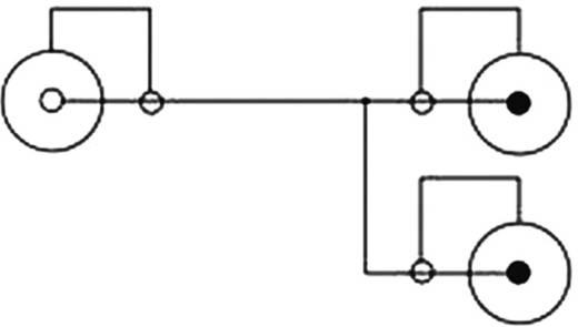 RCA audio csatlakozókábel, 2x RCA dugó - 1x RCA alj, 0,2 m, fekete, Delock