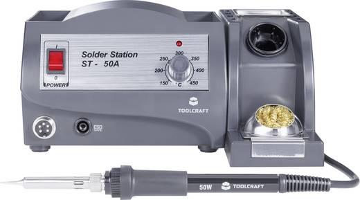 Forrasztóállomás, szabályozható hőmérséklettel +150 től +450 °C-ig 50W TOOLCRAFT ST-50A