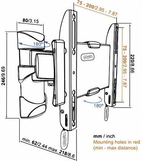 """TV fali tartó konzol, kihajtható, forgatható VESA szabány 48-94 cm (19""""-37"""") Vogel's Base 25 S 8343125"""