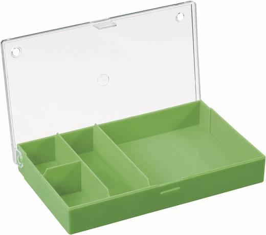 4 részes alkatrésztároló doboz, átlátszó/színes, 164 x 101 x 31 mm