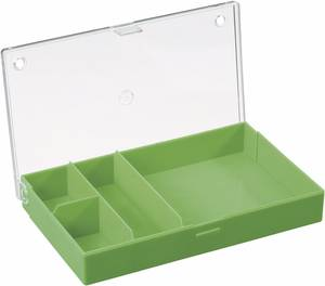 4 részes alkatrésztároló doboz, átlátszó/színes, 164 x 101 x 31 mm Hüfner Dübel
