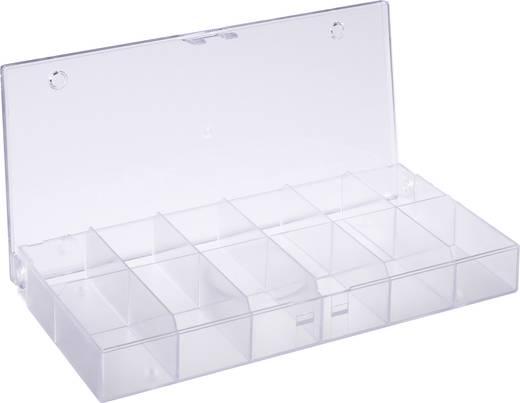 12 részes alkatrésztároló doboz, átlátszó, 194 x 101 x 31 mm