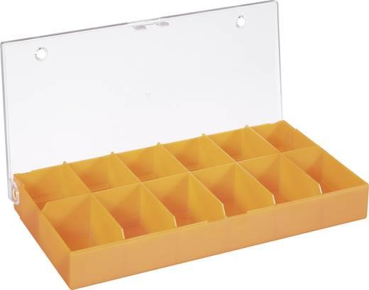 12 részes alkatrésztároló doboz, átlátszó/színes, 194 x 101 x 31 mm