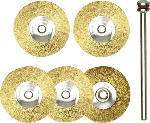 Kerek formájú réz csiszoló korong készlet, 5 db-os, drót korong, kefe Ø 22 mm/nyél Ø 2,35 mm, Proxxon Micromot 28 962