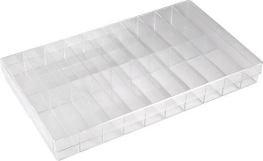 20 részes univerzális alkatrésztároló doboz, átlátszó, 355 x 210 x 40 mm