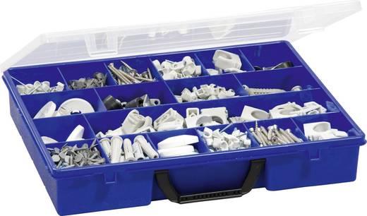 18 részes alkatrésztároló doboz, átlátszó/kék, 365 x 291 x 64 mm