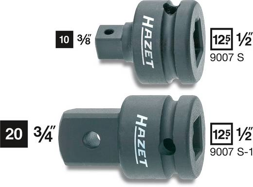 Gépi adapter belsőnégyszögről 12,5 mm (1/2) külső négyszögre 10 mm (3/8), Hazet 9007S