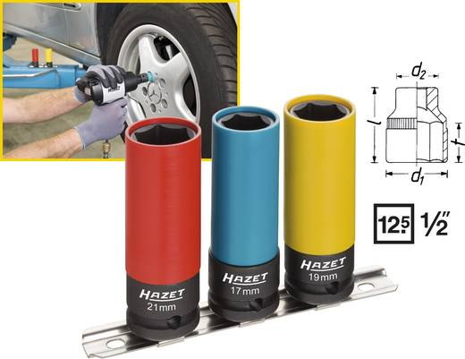 Erő dugókulcsfej készlet, belső négyszög 12,5 mm (1/2), Hazet 903SLG/3