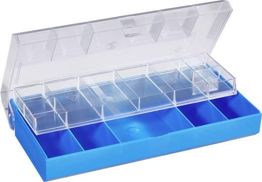 13 részes alkatrésztároló doboz, átlátszó/színes, 210 x 105 x 45 mm