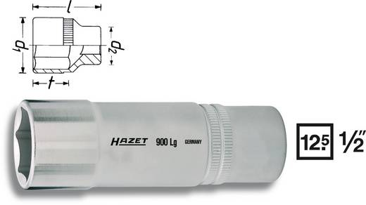"""6 lapfejű dugókulcs betét 12,5 mm (1/2"""")Kulcstávolság 27 mm Meghajtás (szerszám) 12,5 mm (1/2"""")Hazet 900LG-27"""