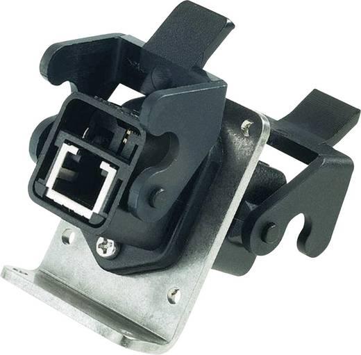 Fali átvezető csatlakozó, kettős csatlakozóalj, beépíthető, pólusszám: 8, Han® 3 A RJ45 fekete Harting