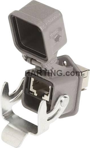 Fali átvezető csatlakozó aljzat önzáródó védősapkával, beépíthető, pólusszám: 8, Han® 3 A RJ45 szürke Harting
