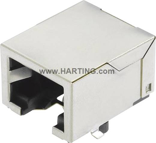 RJ45 hüvely közvetlen készülékbe szereléshez, hajlított Pólusszám: 8 Han® 3 A RJ45 Hybrid ezüst Harting