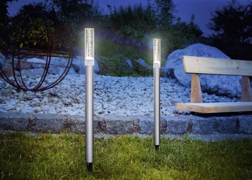 Napelemes kerti lámpa készlet, 2 darab, hidegfehér LED, ezüst, Renkforce
