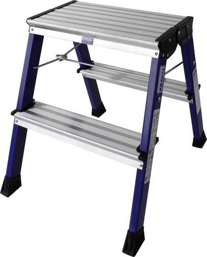 Krause 130082 Kék színű kétoldalon járható összecsukható, görgős alumínium fellépő létra