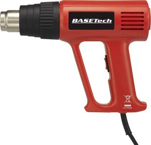 Hőlégfúvó pisztoly készlet, 2000 W, 1/2 fokozat: 300/600 °C, 1/2 fokozat: 500/650 l/min (812537) Basetech