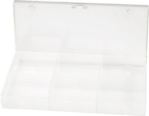 6 részes alkatrésztároló doboz, átlátszó, 194 x 101 x 31 mm