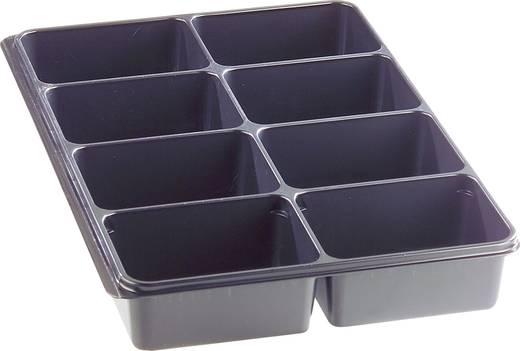 8 részes alkatrésztároló, fekete, 335 x 235 x 50 mm