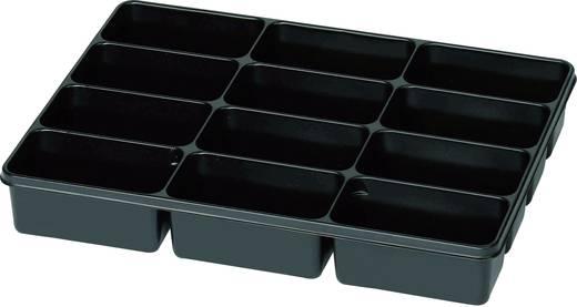 12 részes alkatrésztároló, fekete, 335 x 235 x 50 mm