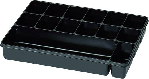 14 részes alkatrésztároló, fekete, 335 x 235 x 50 mm