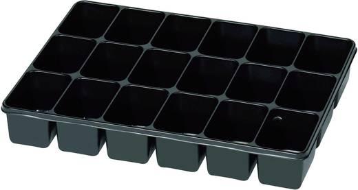 18 részes alkatrésztároló, fekete, 335 x 235 x 50 mm