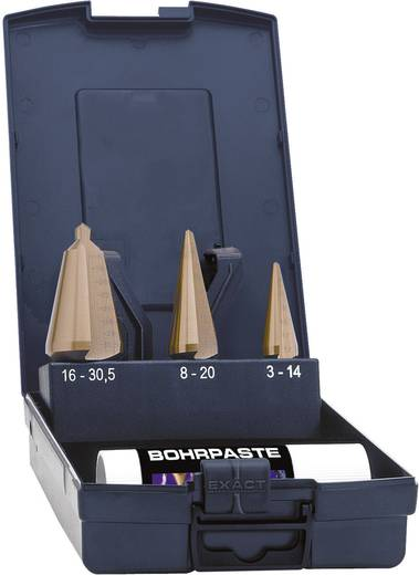 3 részes Hántolófúró-készlet, HSS-E TIN 3 - 14 mm, 4 - 20 mm, 16 - 30.5 mm Exact 05248