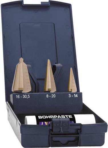HSS-hántolófúró készlet, TIN bevonattal, 3 részes 3 - 14 mm, 4 - 20 mm, 16 - 30.5 mm HSS Exact 50105