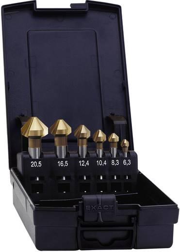 Kúpos süllyesztő készlet, HSS TiN 6.3 mm, 8.3 mm, 10.4 mm, 12.4 mm, 16.5 mm, 20.5 mm Exact 05567