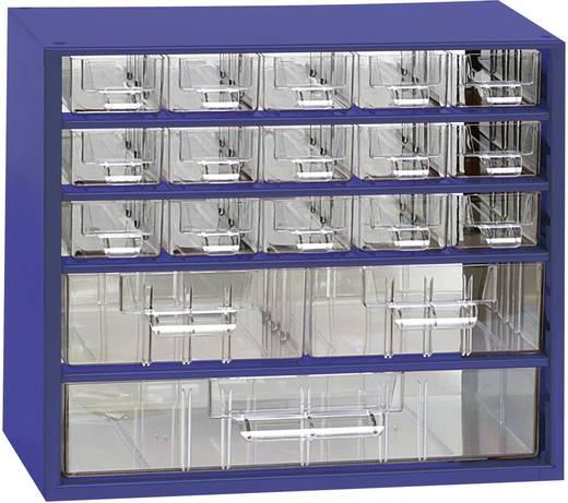 18 részes fiókos alkatrésztároló szekrény, 306 x 282 x 155 mm