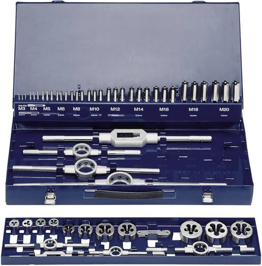 Menetvágó készlet, menetmetsző készlet 54 részes HSS M3 - M20 menethez Exact 10723