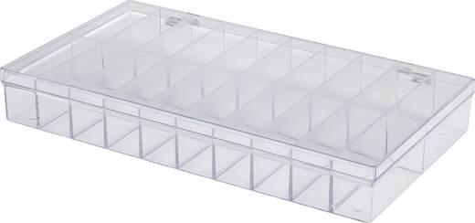 20 részes alkatrésztároló doboz, átlátszó, 296 x 169 x 41 mm