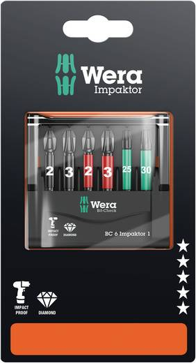 BIT készlet, Torx, kereszthornyú PH, PZ 6 részes készlet Wera Mini-Check IMP DC 05073890001