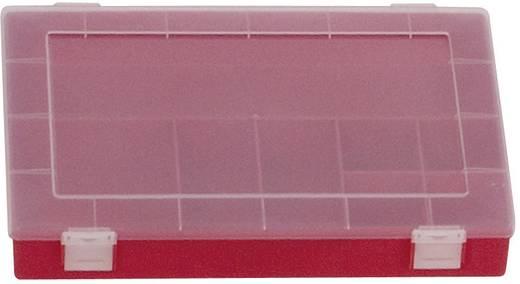 Alutec 8 részes alkatrésztároló doboz, átlátszó/piros, 335 x 225 x 55 mm