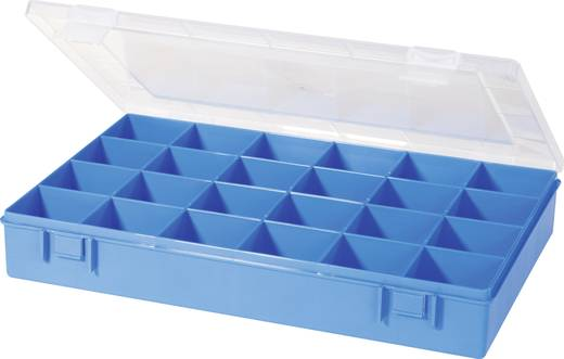 Alutec 24 részes alkatrésztároló doboz, átlátszó/kék, 335 x 225 x 55 mm