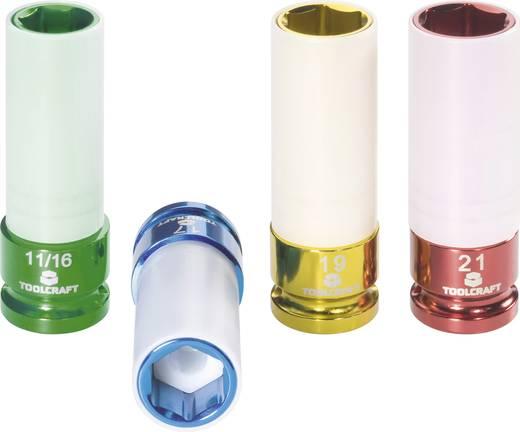 """4 részes dugókulcs készlet 17/19/21/17.5 mm (11/16""""), hossz 85 mm, TOOLCRAFT 821580"""