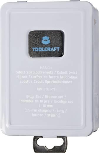 Spirálfúró készlet 19 részes, HSS Co kobalt-nemesacél, DIN 338 RN Toolcraft 821815