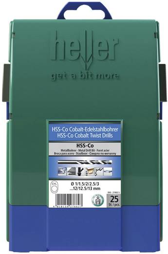 HSS spirálfúró készlet, 25 részes, kobalt, DIN 338, Heller 21965 5