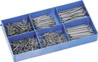 Szög készlet, 750 db, 05, szállítás tartalma: 6 különböző méret: 20 - 55 mm, műanyag dobozban
