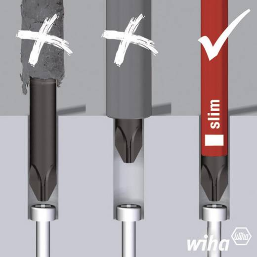 VDE cserélhető pengés csavarhúzó készlet, 10 részes, Wiha slim 36078