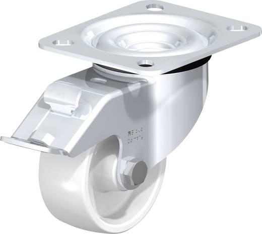 Poliamid kerék, acéllemez forgóvillás, kerékfékkel 75 MM, felfogótalppal