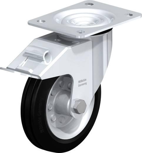 Gumi kerék, acéllemez forgóvillás, kerékfékkel 150MM, felfogótalppal
